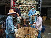 01 DECEMBER 2016 0 BANGKOK, THAILAND: Unloading a truck of pineapples at the traditional market on Lan Luang Road in Bangkok. The market is on the site of one of the first western style cinemas in Bangkok. The movie theatre closed years ago and is still empty but the market fills the streets around the theatre.     PHOTO BY JACK KURTZ