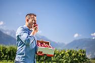 Julien Tramarcaz producteur fruitier en Valais pose le 30 aout 2019 à Charrat.<br /> (OLIVIER MAIRE)