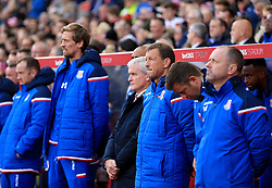 Stoke City manager Mark Hughes stands to commemorate remembrance day - Mandatory by-line: Paul Roberts/JMP - 04/11/2017 - FOOTBALL - Bet365 Stadium - Stoke-on-Trent, England - Stoke City v Leicester City - Premier League