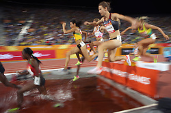 Eventual winner Jamaica's Aisha Praught (centre) in the Women's 3000m Steeplechase Final at the Carrara Stadium during day seven of the 2018 Commonwealth Games in the Gold Coast, Australia.