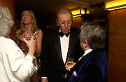 Lady Carina Frost, David Frost,  Ronnie Corbett. Annual  Award dinner given by the Media Society in honour of Sir David Frost. Savoy. 9 March 2005. ONE TIME USE ONLY - DO NOT ARCHIVE  © Copyright Photograph by Dafydd Jones 66 Stockwell Park Rd. London SW9 0DA Tel 020 7733 0108 www.dafjones.com