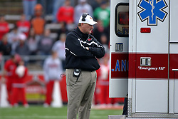 25 October 2008: Denver Johnson watches as medical staff assist Jason Tate who is loaded into an ambulance at mid-field after a collision in which Tate stop Pat Paschall. The North Dakota Bison defeated the Illinois State Redbirds at Hancock Stadium on campus of Illinois State University in Normal Illinois