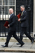 © Licensed to London News Pictures. 08/05/2012. Westminster, UK Secretary of State for Foreign and Commonwealth Affairs WILLIAM HAGUE and Secretary of State for Defence PHILIP HAMMOND (r ). Ministers on Downing Street today 8th May 2012. Photo credit : Stephen Simpson/LNP