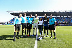 October 21, 2018 - San Jose, California, United States - San Jose, CA - Sunday October 21, 2018: Tim Howard, Tim Ford, Chris Wondolowski, Michael Kampmeinert, Apolinar Mariscal, Joseph Dickerson prior to a Major League Soccer (MLS) match between the San Jose Earthquakes and the Colorado Rapids at Avaya Stadium. (Credit Image: © Maciek Gudrymowicz/ISIPhotos via ZUMA Wire)