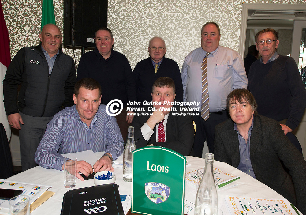 25-01-19. Leinster GAA Annual Convention 2018 at the Knightsbrook Hotel, Trim.<br /> Laois Delegates L to R.<br /> Back: P.J. Kelly, Darren Bracken, Gerry Kavanagh, Pat O'Sullivan, Tom Jones.<br /> Front: Tom Clear, Pascel McEvoy and Kieran Leavy.<br /> Photo: John Quirke / www.quirke.ie<br /> ©John Quirke Photography, Unit 17, Blackcastle Shopping Cte. Navan. Co. Meath. 046-9079044 / 087-2579454.