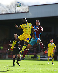 Abu Ogogo of Bristol Rovers battles for the ball with James Perch of Scunthorpe United - Mandatory by-line: Alex James/JMP - 09/03/2019 - FOOTBALL - Glanford Park - Scunthorpe, England - Scunthorpe United v Bristol Rovers - Sky Bet League One