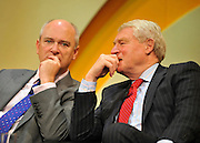 © Licensed to London News Pictures. 21/09/2011. BIRMINGHAM, UK.    (L-R) Nick Harvey MP talks to Lord Ashdown at the Liberal Democrat Conference at the Birmingham ICC today (21 Sept 2011): Stephen Simpson/LNP . Photo credit : Stephen Simpson/LNP