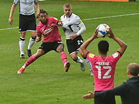 Football - 2020 / 2021 Sky Bet Championship - Swansea City vs Derby County - Liberty Stadium<br /> <br /> Jake Bidwell Swansea City & Colin Kazim-Richards Derby County tussle prior to a throw in by Nathan Byrne Derby County<br /> <br /> COLORSPORT/WINSTON BYNORTH