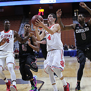 Federico Mussini, St. John's, drives to the basket during the St. John's vs South Carolina Men's College Basketball game in the Hall of Fame Shootout Tournament at Mohegan Sun Arena, Uncasville, Connecticut, USA. 22nd December 2015. Photo Tim Clayton