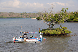 Fischer mit Auslegerboot in Mangroven Bucht, Banyuwedang Bay, fisherman with Outrigger-Canoe in mangrove bay, Nord-Bali, Bali, Indonesien, Indopazifik, Bali, Indonesia Asien, Indo-Pacific Ocean, Asia