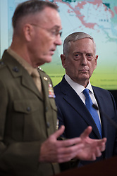 May 19, 2017 - Arlington, United States - U.S. Joint Chiefs of Staff Chairman Joseph Dunford comments on the defeat of the Islamic State as Secretary of Defense James Mattis, right, looks on during a joint press conference at the Pentagon May 19, 2017 in Arlington, Virginia. (Credit Image: © Amber I. Smith/Planet Pix via ZUMA Wire)