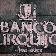 Banco Urquijo lettering (removed), Seville, Spain (January 2007)