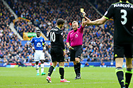 Eden Hazard of Chelsea receives a yellow card from referee Jonathan Moss. Premier league match, Everton v Chelsea at Goodison Park in Liverpool, Merseyside on Sunday 30th April 2017.<br /> pic by Chris Stading, Andrew Orchard sports photography.