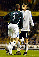 Photo: Ed Godden/Sportsbeat Images.<br /> Tottenham Hotspur v Newcastle United. The Barclays Premiership. 14/01/2007. Newcastle keeper Shay Given is approached by Dimitar Berbatov.