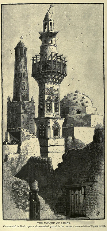 THE MOSQUE OF LUXOR. Ornamented in black upon a white-washed ground in the manner characteristic of Upper Egypt Wood engraving from 'Picturesque Palestine, Sinai and Egypt' by Wilson, Charles William, Sir, 1836-1905; Lane-Poole, Stanley, 1854-1931 Volume 4. Published in 1884 by J. S. Virtue and Co, London
