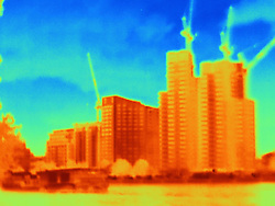 April 24, 2017 - Thermal photograph of skyscrapers and construction cranes, London, UK (Credit Image: © Image Source via ZUMA Press)