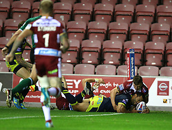 Wakefield Trinity's Bill Tupou scores his sides second try of the game during the Betfred Super League Super 8's match at the DW Stadium, Wigan.