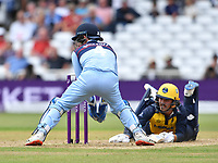 Cricket - 2021 Royal London 50-over Cup - Final - Glamrogan vs Durham - Trent Bridge<br /> <br /> Kiran Carlson of Glamorgan narrowly avoids a run out during todays play.<br /> <br /> COLORSPORT/Ashley Western