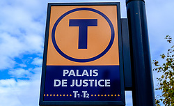Sign at tram stop at the Palais de Justice, Toulouse, France<br /> <br /> (c) Andrew Wilson | Edinburgh Elite media