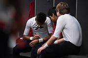 Jermaine Bernal of the Iraan High School football team remembers Liz Pope on his tape before the state championship game at AT&T Stadium in Arlington, Texas on December 15, 2016. (Cooper Neill for The New York Times)