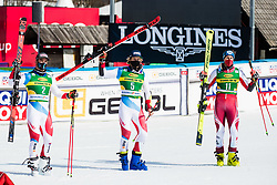Meillard Loic (SUI) 2nd, Mario Odermatt (SUI) 1st, Breinnsteiner Stefan (AUT) 3rd during trophy ceremony the Audi FIS Alpine Ski World Cup Men's Giant Slalom at 60th Vitranc Cup 2021 on March 13, 2021 in Podkoren, Kranjska Gora, Slovenia Photo by Grega Valancic / Sportida