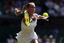 Magdalena Rybarikova in action against Karolína Pliskova on day four of the Wimbledon Championships at The All England Lawn Tennis and Croquet Club, Wimbledon.