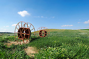 Israel, Negev, Irrigation pipes in an Alfalfa field