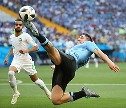 June 20, 2018 - Rostov-on-Don, Russia - CRISTIAN RODRIGUEZ (R) of Uruguay competes during a Group A match between Uruguay and Saudi Arabia at the 2018 FIFA World Cup in Rostov-on-Don, Russia. (Credit Image: © Li Ming/Xinhua via ZUMA Wire)
