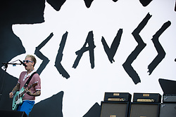 Laurie Vincent of Slaves performing on the fifth day of the Glastonbury Festival at Worthy Farm in Somerset.
