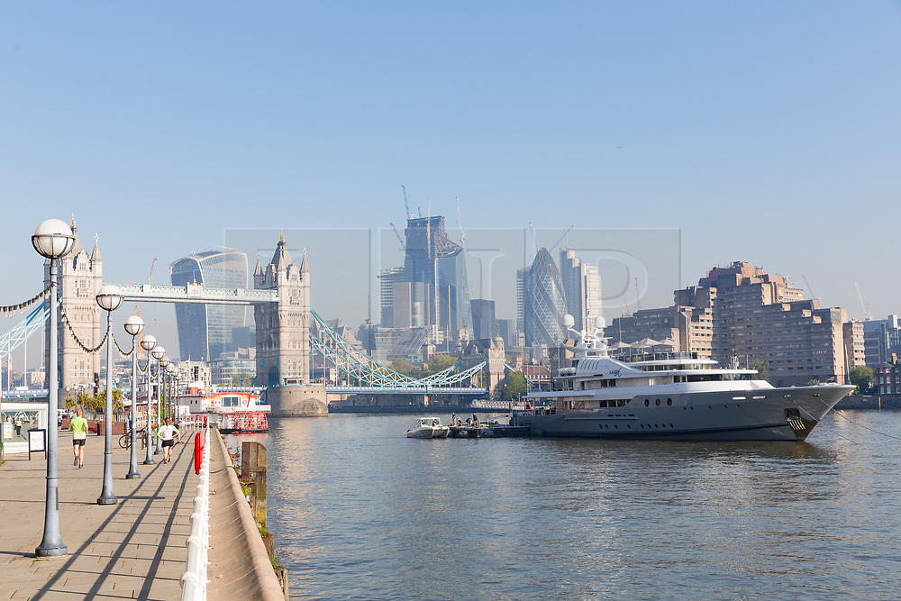 © Licensed to London News Pictures. 08/05/2018. London, UK. Lady A superyacht is seen moored at Butlers Wharf during sunny weather this morning near Tower Bridge on the River Thames in London. The 181 feet long, Lady A superyacht is owned by Alan Sugar, named after his wife, Anne and is currently up for sale, reportedly at £13m.  Photo credit: Vickie Flores/LNP