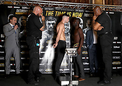 Aryee Ayittey and Mark Heffron go head-to-head during the weigh-in at the Mercure Leicester the Grand Hotel.