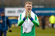 Wimbledon goalkeeper Aaron Ramsdale (35), on loan from Bournemouth, applauds the fans during the EFL Sky Bet League 1 match between Shrewsbury Town and AFC Wimbledon at Greenhous Meadow, Shrewsbury, England on 2 March 2019.