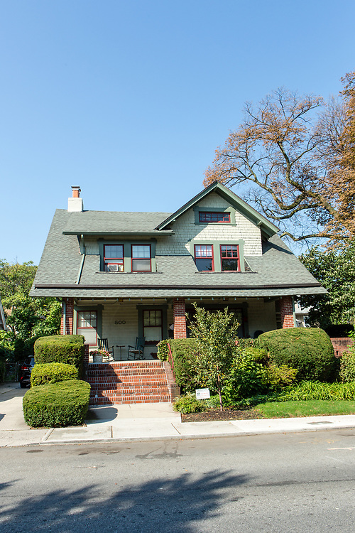 A shingle style bungalow at 500 E. 16th St., between Ditmas and Newkirk Avenues, built in 1908-1909 by Arlington Isham.