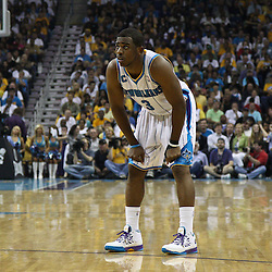 April 24, 2011; New Orleans, LA, USA; New Orleans Hornets point guard Chris Paul (3) against the Los Angeles Lakers during the second quarter in game four of the first round of the 2011 NBA playoffs at the New Orleans Arena.    Mandatory Credit: Derick E. Hingle