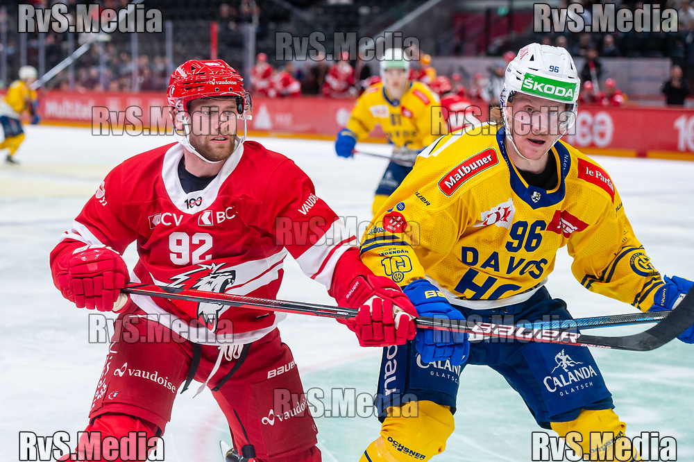 LAUSANNE, SWITZERLAND - SEPTEMBER 24: Jiri Sekac #92 of Lausanne HC battles with Chris Egli #96 of HC Davos during the Swiss National League game between Lausanne HC and HC Davos at Vaudoise Arena on September 24, 2021 in Lausanne, Switzerland. (Photo by Monika Majer/RvS.Media)