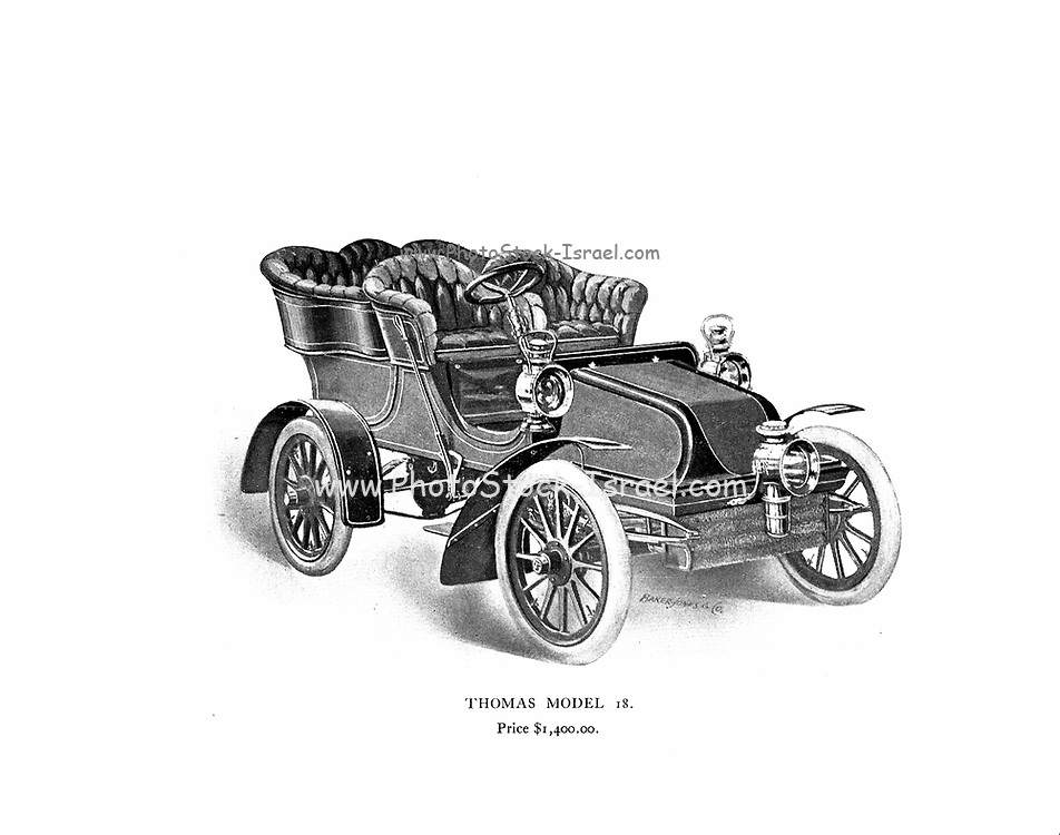 Thomas Model 18 (Front View) From the E. R. Thomas Motor Co. Inc Advance Catalogue — Maker Of Automobiles and Auto-Bi Motorcycles — From Buffalo New York, USA, Printed 1903. E. R. Thomas Motor Company was a manufacturer of motorized bicycles, motorized tricycles, motorcycles, and automobiles in Buffalo, New York between 1900 and 1919