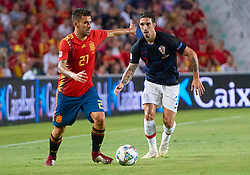 September 11, 2018 - Elche, U.S. - ELCHE, SPAIN - SEPTEMBER 11: Sime Vrsaljko, defender of Croatia competes for the ball with Dani Ceballos, defender of Spain during the UEFA Nations League A Group four match between Spain and Croatia on September 11, 2018, at Estadio Manuel Martinez Valero in Elche, Spain. (Photo by Carlos Sanchez Martinez/Icon Sportswire) (Credit Image: © Carlos Sanchez Martinez/Icon SMI via ZUMA Press)