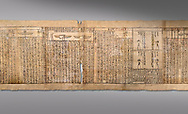 Ancient Egyptian Book of the Dead papyrus - Spell 126 - what to say in the judgement before Osiris, Iufankh's Book of the Dead, Ptolemaic period (332-30BC).Turin Egyptian Museum. Grey Background<br /> <br /> Spell 125 instruct the deceased as to waht to say infront of Osiris and the Forty Two Judges in the Hall of Two Maat, the netherworlds Judgement Hall. <br /> <br /> The translation of  Iuefankh's Book of the Dead papyrus by Richard Lepsius marked a truning point in the studies of ancient Egyptian funereal studies. .<br /> <br /> If you prefer to buy from our ALAMY PHOTO LIBRARY  Collection visit : https://www.alamy.com/portfolio/paul-williams-funkystock/ancient-egyptian-art-artefacts.html  . Type -   Turin   - into the LOWER SEARCH WITHIN GALLERY box. Refine search by adding background colour, subject etc<br /> <br /> Visit our ANCIENT WORLD PHOTO COLLECTIONS for more photos to download or buy as wall art prints https://funkystock.photoshelter.com/gallery-collection/Ancient-World-Art-Antiquities-Historic-Sites-Pictures-Images-of/C00006u26yqSkDOM