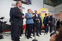 24 SEP 2017, BERLIN/GERMANY:<br /> Angela Merkel (M), CDU, Bundeskanzlerin, eingerahmt von Joachim Herrmann, Armin Laschet, Thomas de Maiziere, Jesn Spahn, Thomas Strobl, Monika Gruetters, Annegret Kramp-Karrenbauer, Philipp Murmann, Elmar Brok, (v.L.n.R.), Wahlparty in der Wahlnacht, Bundestagswahl 2017, Konrad-Adenauer-Haus, CDU Bundesgeschaeftsstelle<br /> IMAGE: 20170924-01-056<br /> KEYWORDS: Election Party, Election Night
