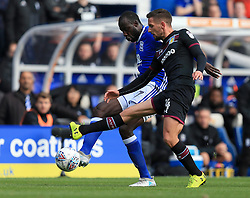 Cheick Ndoye of Birmingham City battles for the ball with Conor Hourihane of Aston Villa - Mandatory by-line: Paul Roberts/JMP - 29/10/2017 - FOOTBALL - St Andrew's Stadium - Birmingham, England - Birmingham City v Aston Villa - Skybet Championship