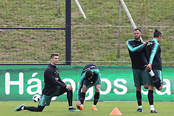 March 20, 2018 - Lisbon, Lisbon, Portugal - Portugal forward Cristiano Ronaldo (L) during training session at Cidade do Futebol training camp in Oeiras, outskirts of Lisbon, on March 20, 2018 ahead of the friendly football match in Zurich against Egypt on March 23. (Credit Image: © Dpi/NurPhoto via ZUMA Press)