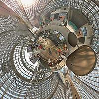 Kyoto Train Station Level Two -- Little Planet View (0.20x). Composite of 44 images taken with a Leica CL camera and 18 mm f/2.8 lens (ISO 400, 18 mm, f/5.6, 1/60 sec). Raw images processed with Capture One Pro and AutoPano Giga Pro.
