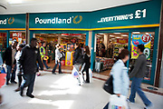 Pound shops in the Stratford Shopping Centre. This shopping center has a few bargain shops as well as regular high street chain stores. This shop sells everything for £1 or less. Scene in Stratford in East London. This is a relatively poor area of London, but in recent years has seen much regeneration, the construction of a major transport hub and various shopping complexes. Stratford is adjacent to the London Olympic Park and is currently experiencing regeneration and expansion linked to the 2012 Summer Olympics. (Photo by Mike Kemp/For The Washington Post)