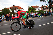 London, UK. Wednesday 1st August 2012. The Men's Individual Time Trial cycling event passes through Twickenham on route to find the fastest male cyclist. Mouhcine Lahsaini of Morocco.