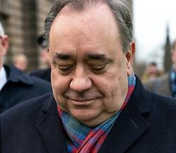 Edinburgh, Scotland, UK. 22 January, 2020. Alex Salmond leaves the High Court in Edinburgh after a preliminary trial hearing.