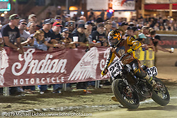 AMA flattracker (no. 23) Jeffrey Carver on his Indian FTR750r racer in the Main Event at the AMA Flat track racing at the Sturgis Buffalo Chip during the Sturgis Black Hills Motorcycle Rally. Sturgis, SD, USA. Sunday, August 4, 2019. Photography ©2019 Michael Lichter.