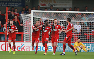 Crawley Town midfielder Roarie Deacon celebrates after scoring the equaliser during the Sky Bet League 2 match between Crawley Town and Leyton Orient at the Checkatrade.com Stadium, Crawley, England on 10 October 2015. Photo by Bennett Dean.