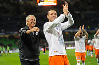 FOOTBALL - FRENCH CHAMPIONSHIP 2011/2012 - L1 - STADE RENNAIS v MONTPELLIER HSC - 7/05/2012 - PHOTO PASCAL ALLEE / DPPI - JOY RENE GIRARD THE COACH AND JAMEL SAIHI (MONT) AT THE END OF MATCH