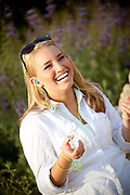 Blonde Teenage Girl With Ipod