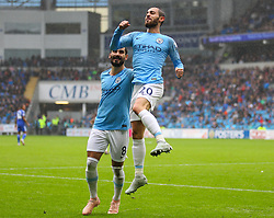 September 22, 2018 - Cardiff City, England, United Kingdom - Bernardo Silva of Manchester City celebrates after scoring his sides first goal in the 35th minute during the Premier League match between Cardiff City and Manchester City at Cardiff City Stadium,  Cardiff, England on 22 Sept 2018. (Credit Image: © Action Foto Sport/NurPhoto/ZUMA Press)